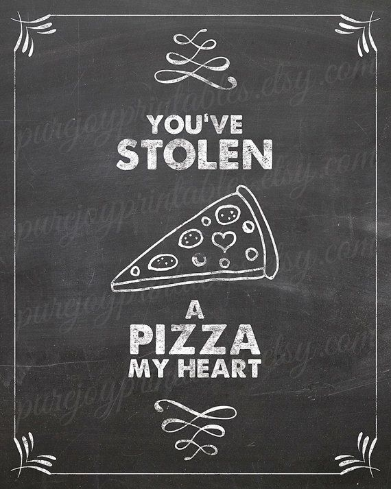 Kitchen pun pizza my heart pizza quote pizza by PureJoyPrintables