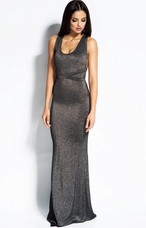 Dursi Cindy sukienka srebrna Przepiękna sukienka wieczorowa, kobiecy dopasowany fason, wykonana z dzianiny ozdobionej metaliczną przędzą