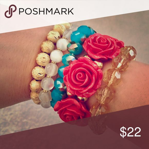 Rose + Sparkle Statement Bracelet Set Gorgeous set of five Statement bracelets sure to make an basic outfit stand out from the crowd. Feminine Florals and chic sparkles. Wear together or separate. Offers welcome. Stretch styling. Jewelry Bracelets