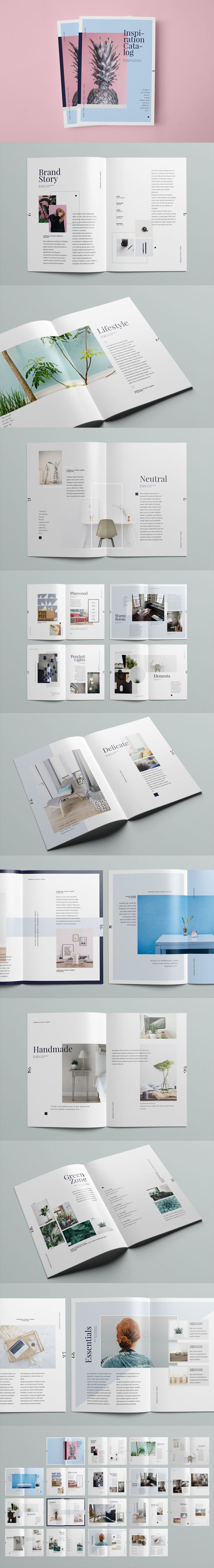 Inspiration Catalog 36 Unique Layouts / A4 and US letter Template INDD, PDF