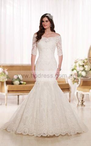 Mermaid Off The Shoulder Natural Half-Sleeves Floor-length Wedding Dresses wes0262--Hodress