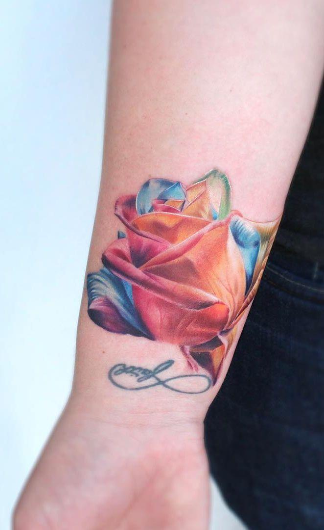 Rainbow Rose Tattoo C Tattoo Artist Brian Gutierrez Tattoos Rose Tattoo Rose Tattoo Design