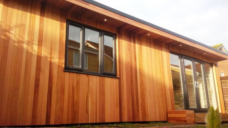 Garden office using western red cedar no 2 clear better for Cedar garden office