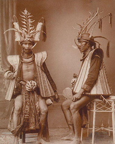 DRESSED TO KILL/ When Mabel Cook Cole explored the island of Nias off the coast of Sumatra for a 1931 article, warriors still wore knife sheaths decorated with tiger-tooth amulets;photo by Nieuvenhuis