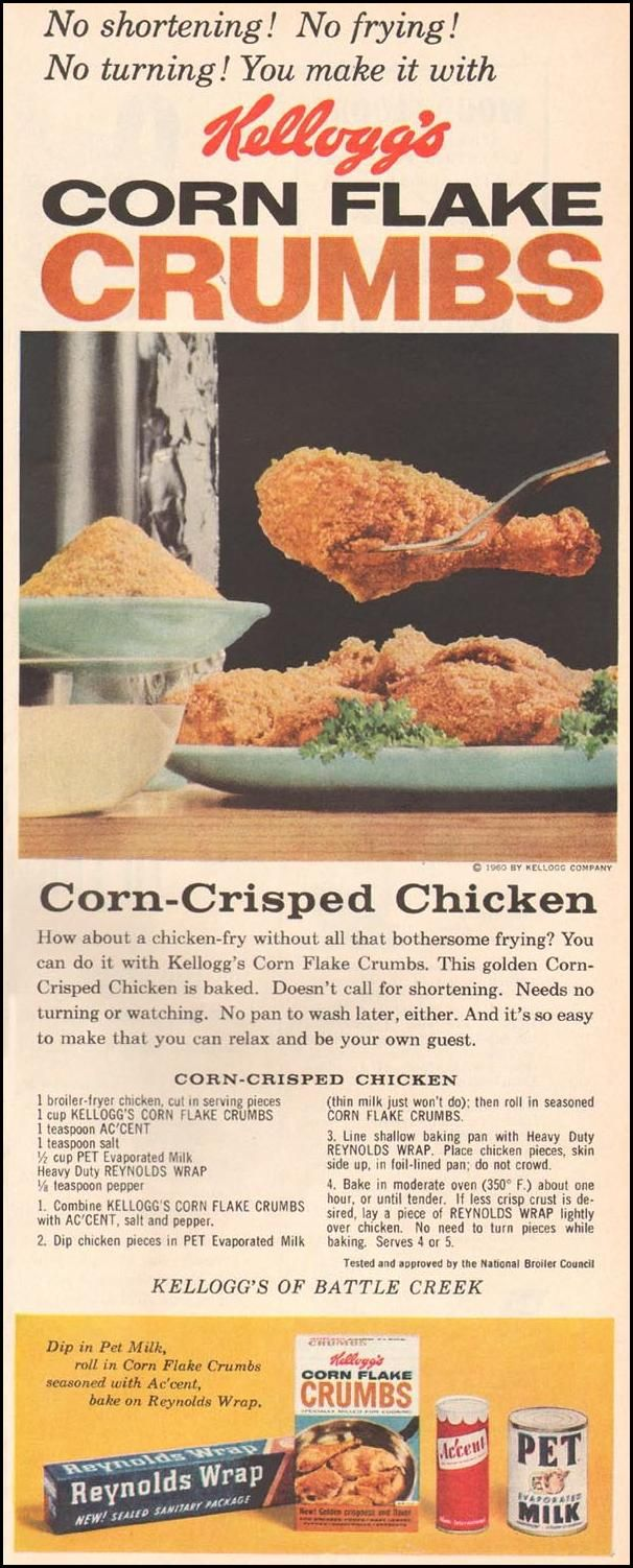Corn-Crisped Chicken KELLOGG'S CORN FLAKE CRUMBS BETTER HOMES AND GARDENS 03/01/1960 p. 97