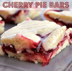 Cherry Pies Bars ~ Soft, flake crust flavored with Almond and stuffed with Cherry Pie Filling! Easier than pie but just as yummy!.
