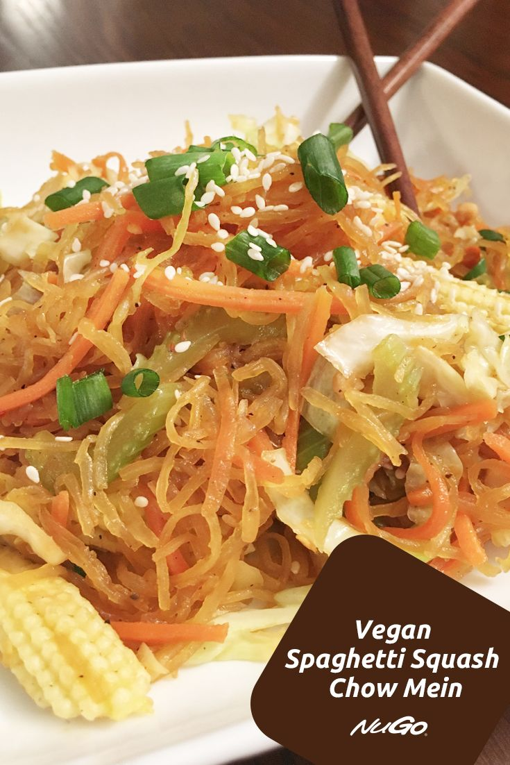 Settle your craving for Chinese food with this #vegan, gluten-free and low carb Spaghetti Squash Chow Mein! You can whip this dinner up faster than delivery would arrive!