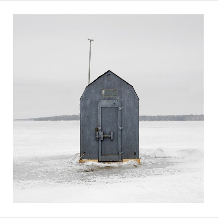 Richard Johnson, Ice Huts series - like the mundane blue colour to match the surrounding of the cloudy, cold day.  the yellow/orange accents from the trim at the bottom at some interest to the photo.