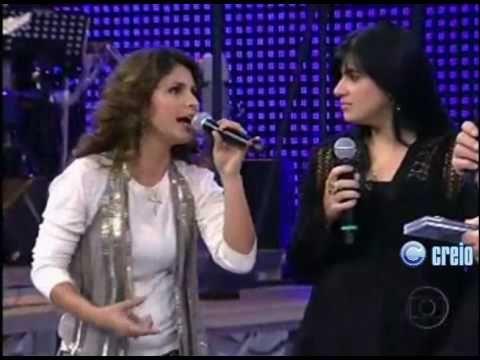 Aline Barros e Fernanda Brum no Domingão do Faustão