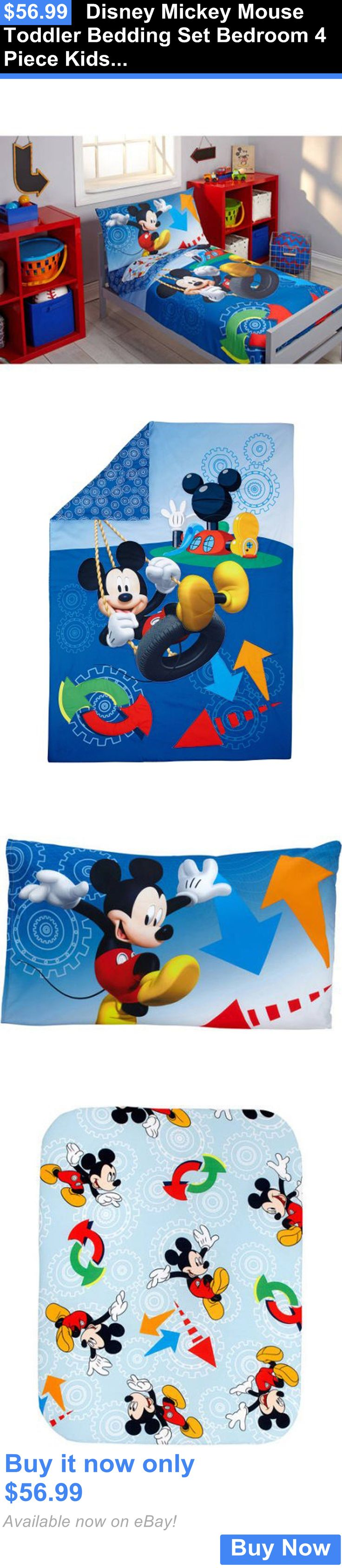 Kids at Home: Disney Mickey Mouse Toddler Bedding Set Bedroom 4 Piece Kids Room Boy Gift Decor BUY IT NOW ONLY: $56.99