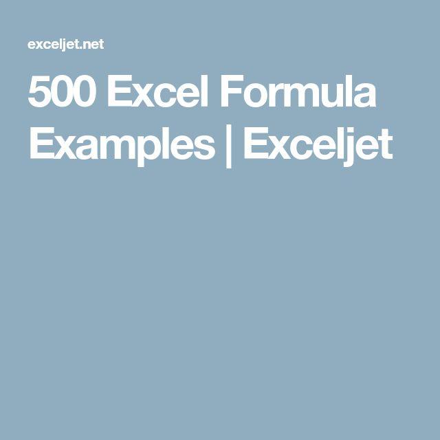 500 Excel Formula Examples | Exceljet