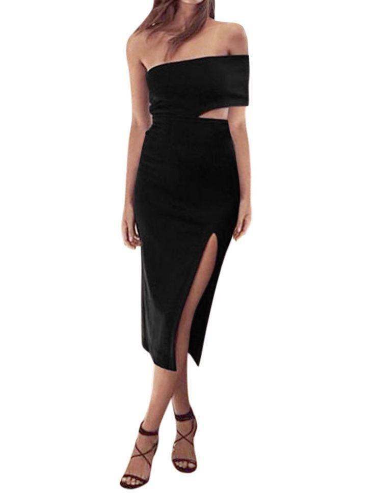 Women-Cut-Out-Side-Split-Hem-Midi-One-Shoulder-Dress