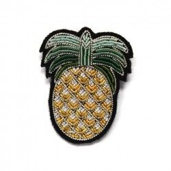 "Grande broche brod_e main "" Ananas"""