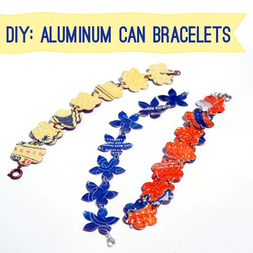 Recycled Can Jewelry  http://savedbylovecreations.com/2012/06/aluminum-can-flower-bracelets.html