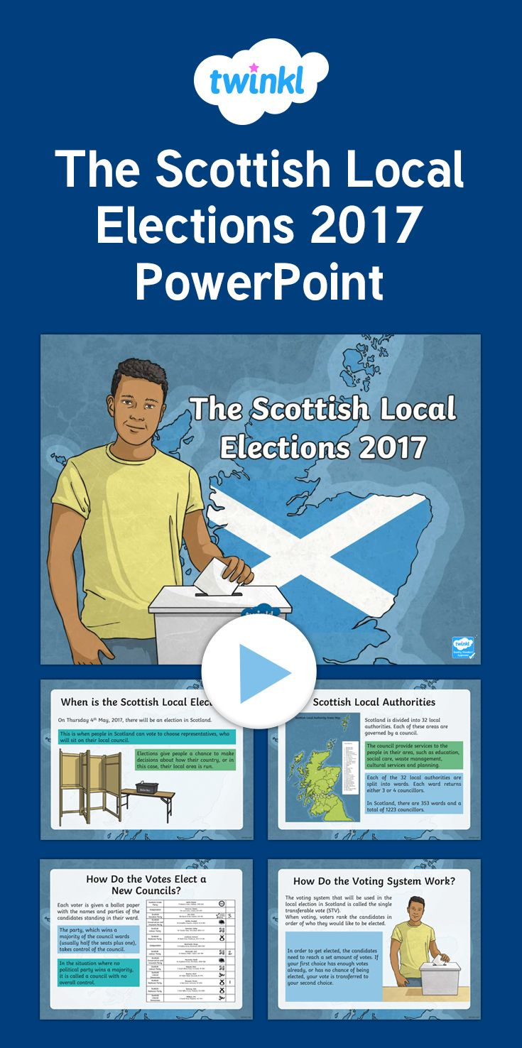 Scottish Local Elections 2017 PowerPoint - Scottish Local Elections 2017 - This PowerPoint features information you can use in your class to help teach your children about the 2017 Local Election!