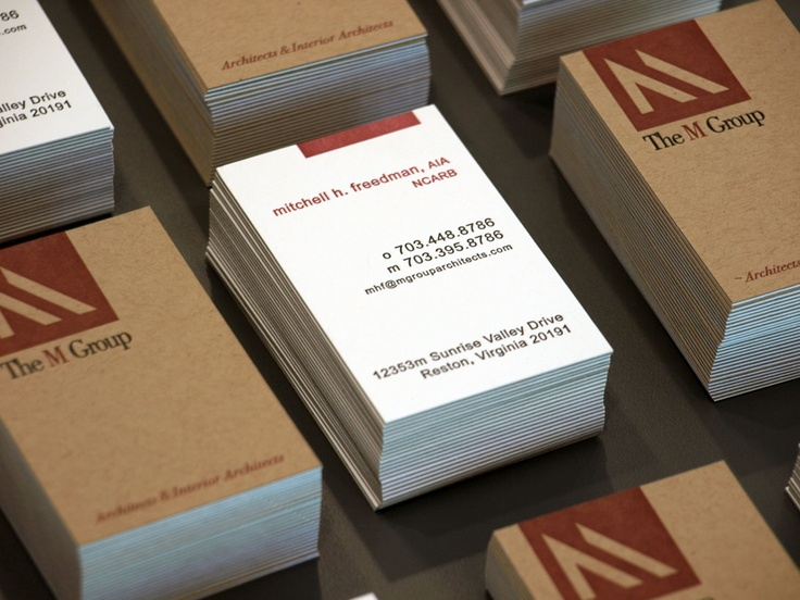Business cards that I designed for the M Group Architects