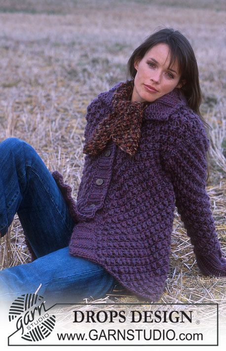 DROPS 91-2 - DROPS Blackberry stitch Jacket and short Scarf in Eskimo. - Free pattern by DROPS Design
