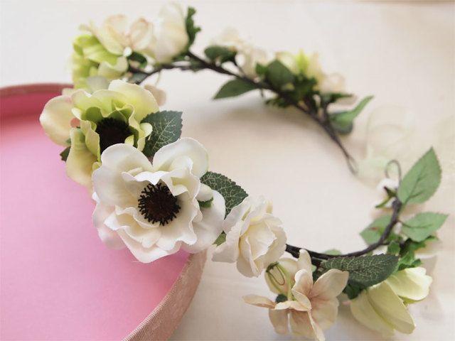 結婚式やイベントに★ホワイト×グリーン★アネモネの花冠 by e-flowerink アクセサリー ヘアアクセサリー