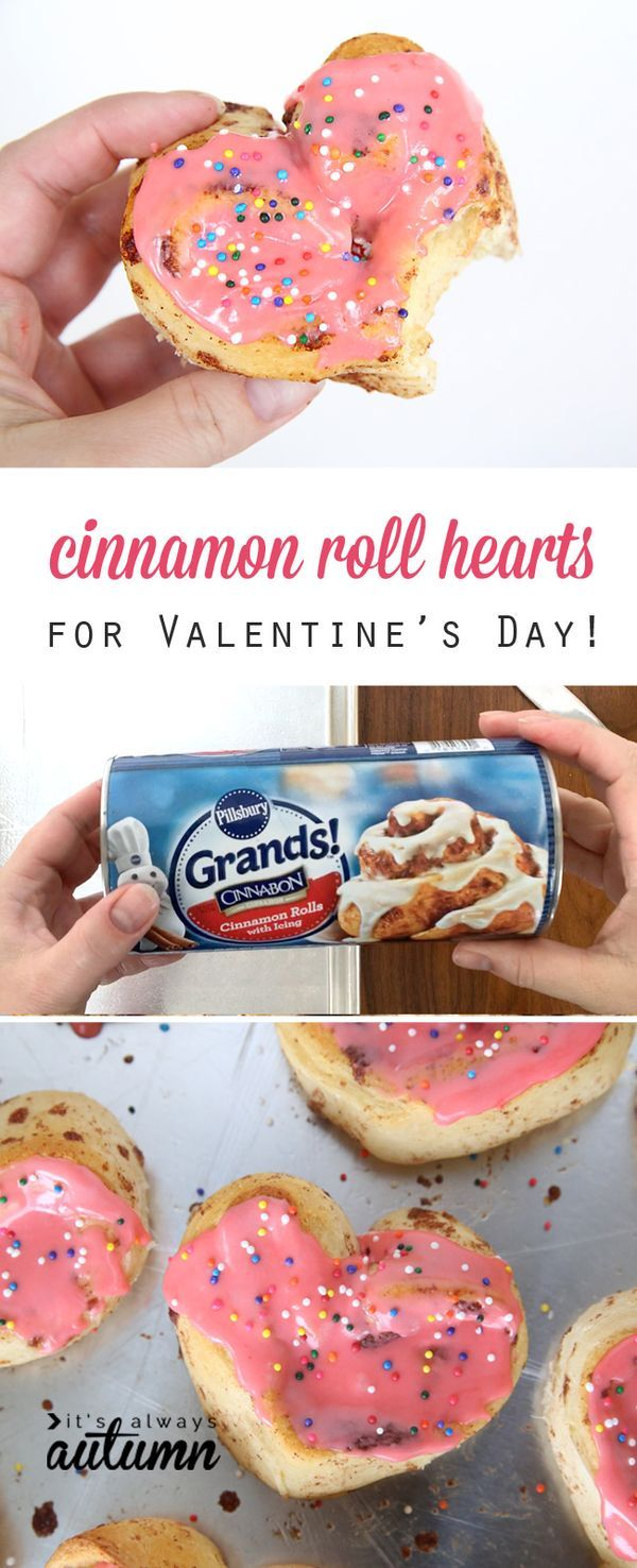 So cute! Heart shaped cinnamon rolls for Valentine's Day or any other special breakfast! Fast and easy recipe.