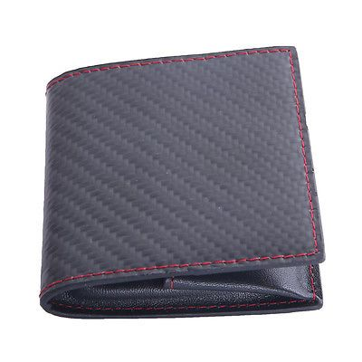 Carbon Fiber  Small Black Soft Leather Zip Around Coin Change Card Wallet