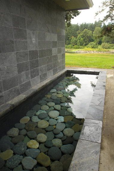 water feature with river stones