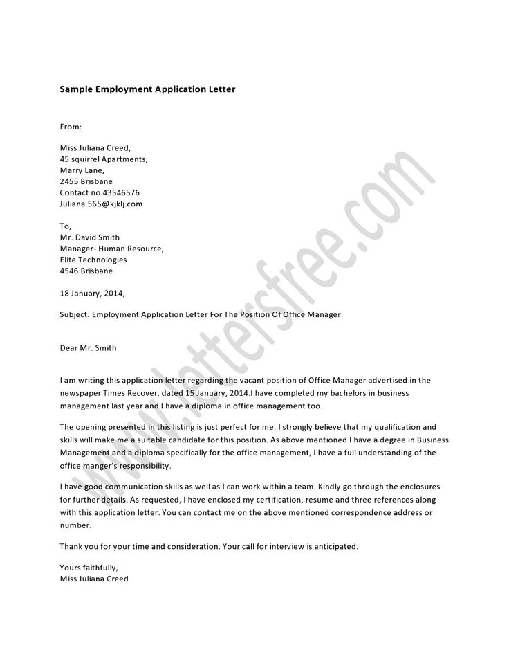 7 best Sample Application Letter images on Pinterest A letter - human resource application letter