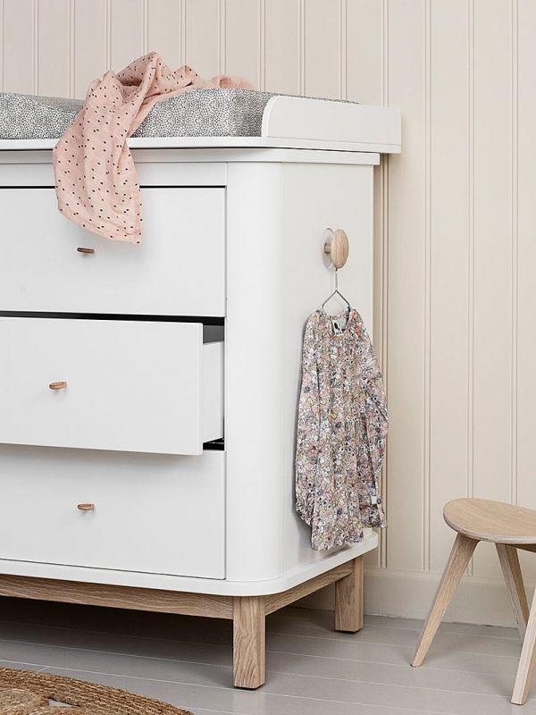 New Oliver Furniture Wood Wickelkommode Schubladen mit Wickelplatte gro wei Eich