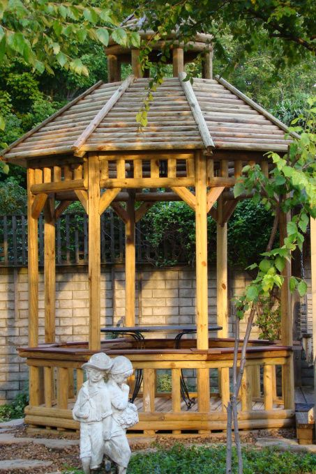 diy gazebo vented roof | Gazebo, This Gazebo is built entirely from landscape timbers - roof ...