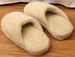 Bath Towel Spa Slippers. Made from old flip flops and a bath towel.