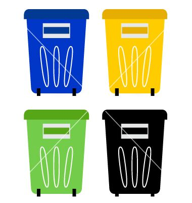 Set of colorful recycle bins isolated on white vector 1282638 - by lordalea on VectorStock®