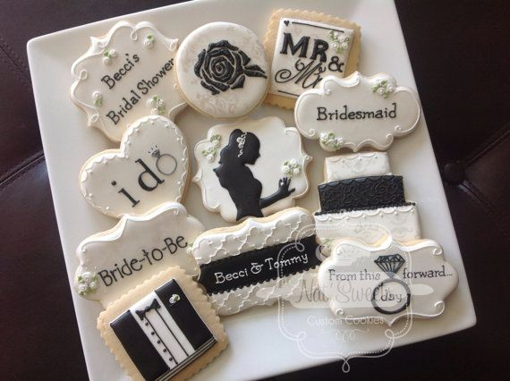 1 dozen elegant black & white wedding/bridal sower cookies