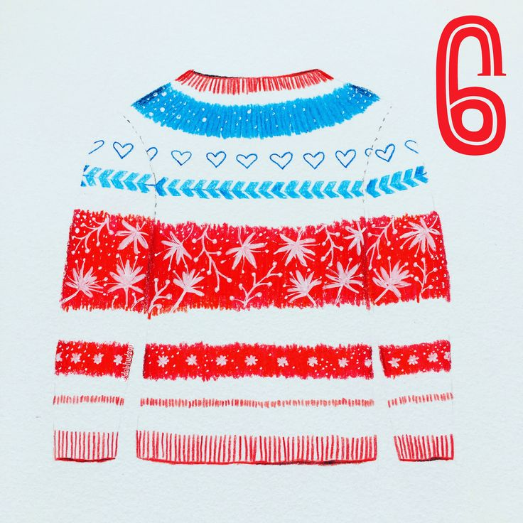 Jumper for the 12 days of Christmas with @the_portfolio_group Coloured pencil drawing by Deb Hudson www.debhudson.com
