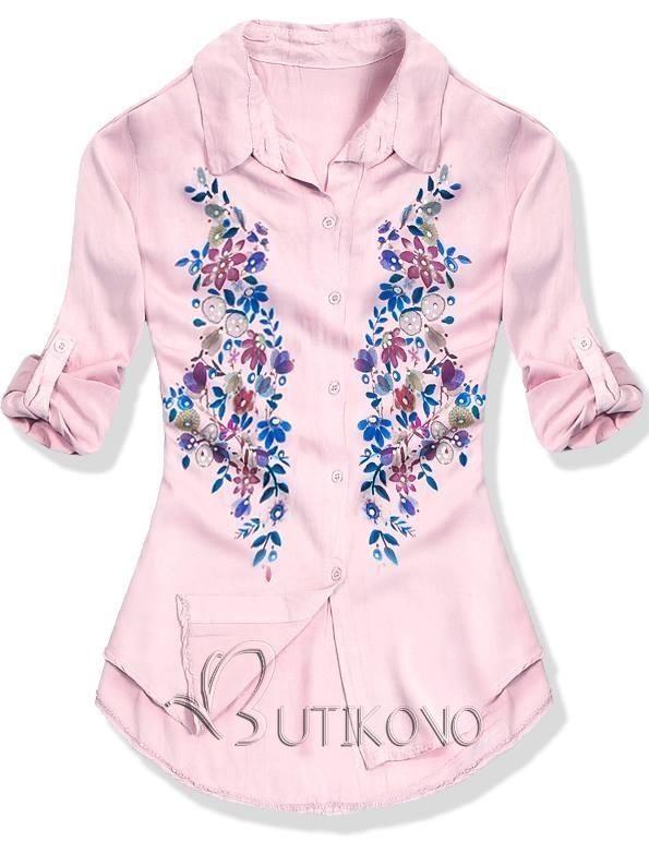 e5d9f0d3fa17 Púdrová košeľa s kvetinovou potlačou
