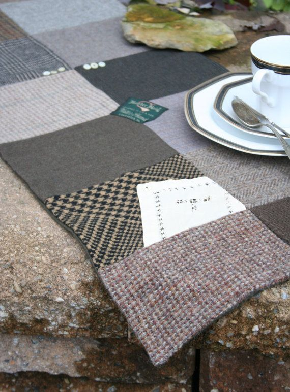 Tweed for your Table  Wool Patchwork TABLE RUNNER by EmmaDear, $42.00