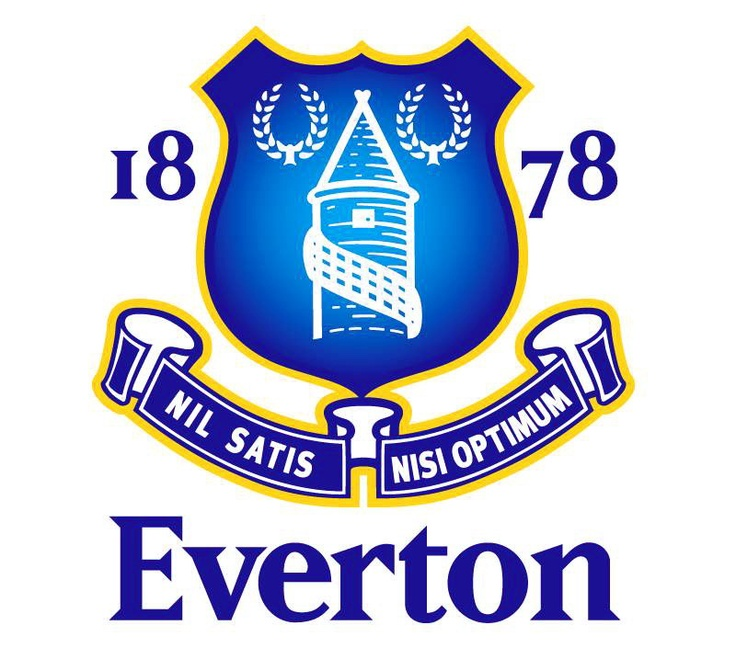 Everton, a strong blue crest with a recognisable shield shape