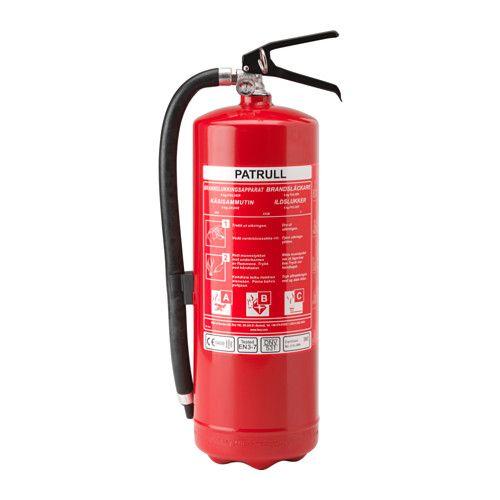 PATRULL Brandsläckare, pulver IKEA Denna brandsläckare är lämplig för bränder i trä, textil, papper och gasbränder.
