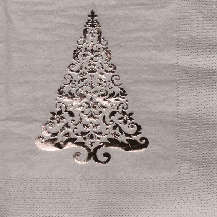 Silver Glitz Tree Lunch Napkin | 16 / pkg 12 pkgs / case | Bulk & 157 best Decorative Paper Napkins images on Pinterest | Happy ...