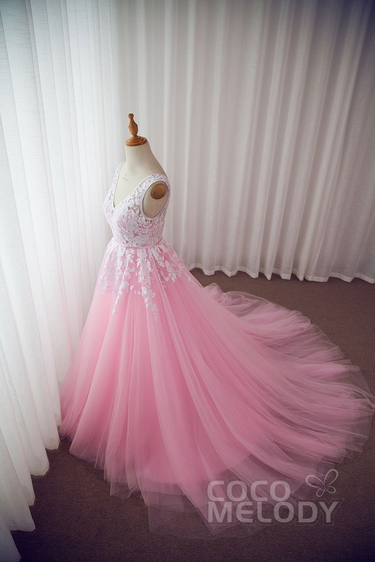 """How About #LD3932 In Pink Shade? Who Would Say """"YES"""" To This New Look? Show Your Love! #wedingdresses #customdresses #dreamdresses #cocomelody #bridaalgowns"""