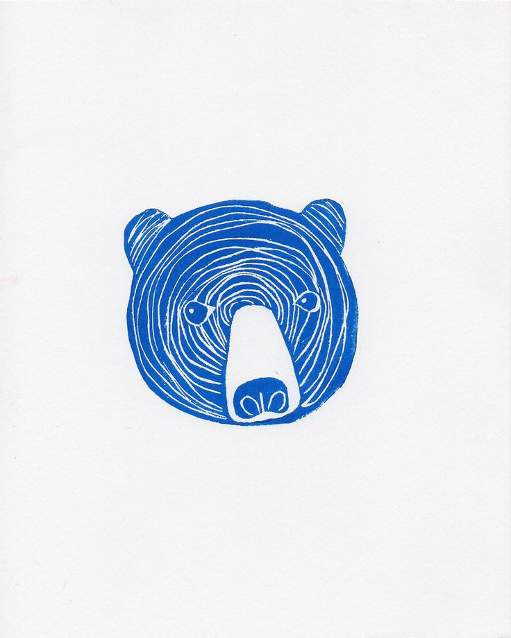 Cobalt Blue Linocut Bear Face Woodblock by WeThinkSmall on Etsy