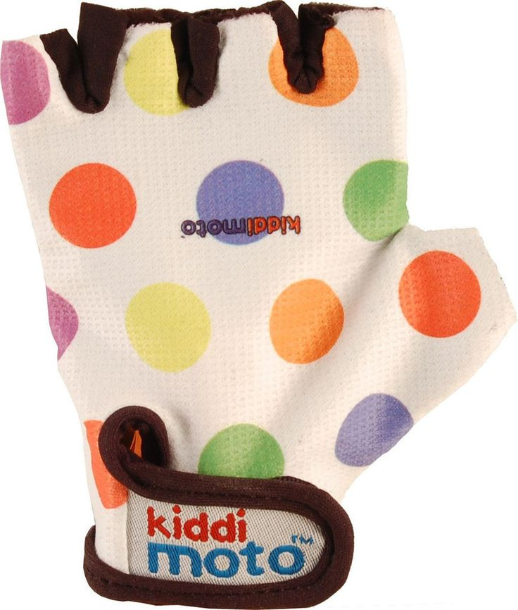 Gloves Pastel Spot These kids' bike gloves are a must-have accessory for all Kiddimoto riders. They have padded grips on the palms and Velcro straps.  These kids' gloves are comfortable, functional and look cool whilst protecting vulnerable little hands as they scoot about on their Kiddimoto Wooden Balance Bike.  Suitable for ages 2-5 years.
