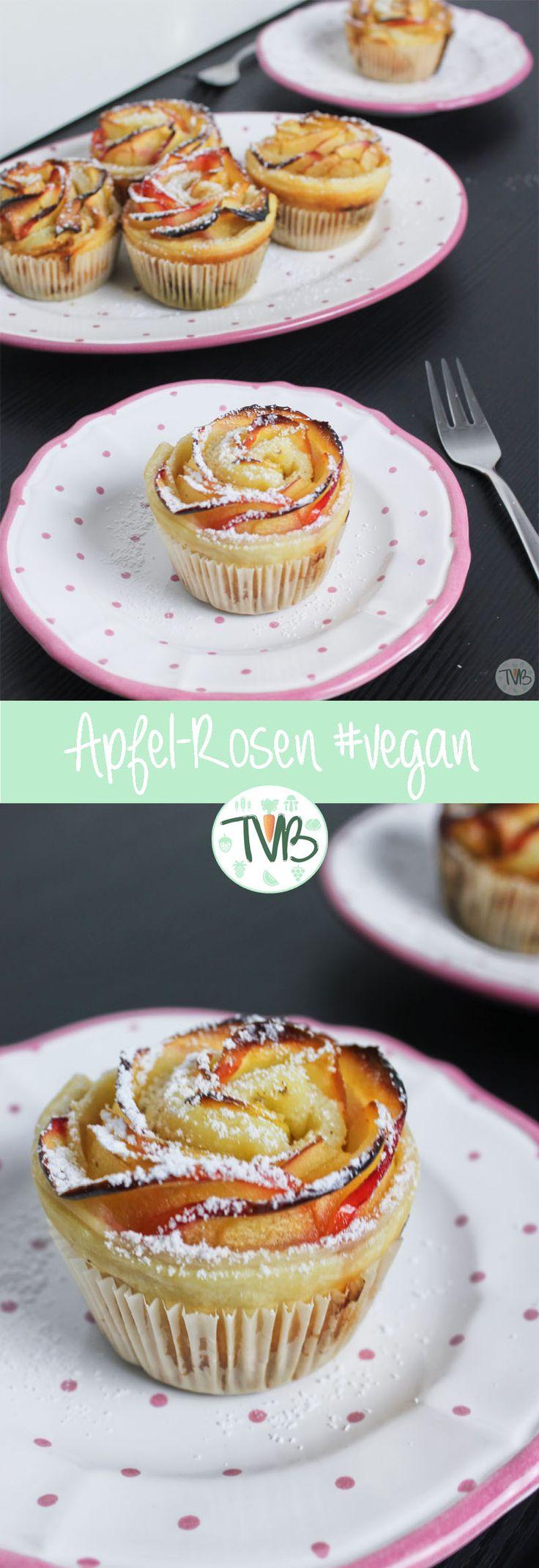 Apfel, Rosen, Blättertieg, Muffin, vegan, vegetarisch, ohne Ei, ohne Tierprodukte, wenig Zucker, lecker, fruchtig, leicht, schnell