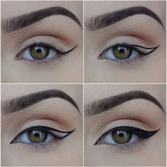 Winged eyeliner how to, including a bit of a cat eye in the inner corner. Love it. Pinterest: heyitslalita