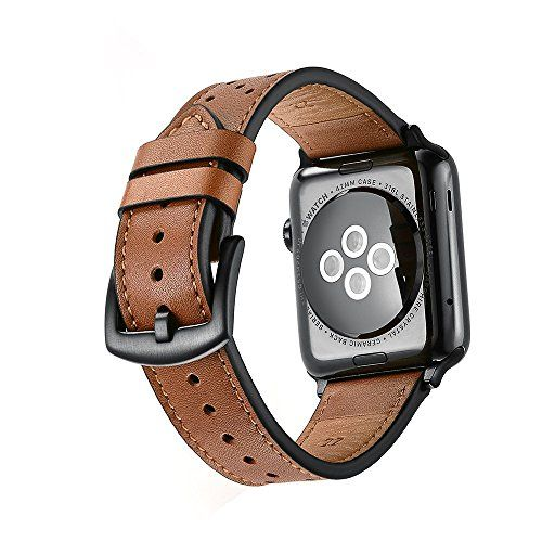 Mifa - Apple Watch band Leather Bands Replacement strap for series 1 2 3 dressy classic buckle iwatch Band (42mm Brown)