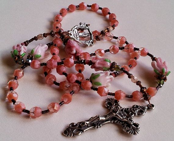 SALE use coupon code! Marys Rose Garden Rosary - sterling silver crucifix, handmade lampwork rose paters, Czech fire polished aves