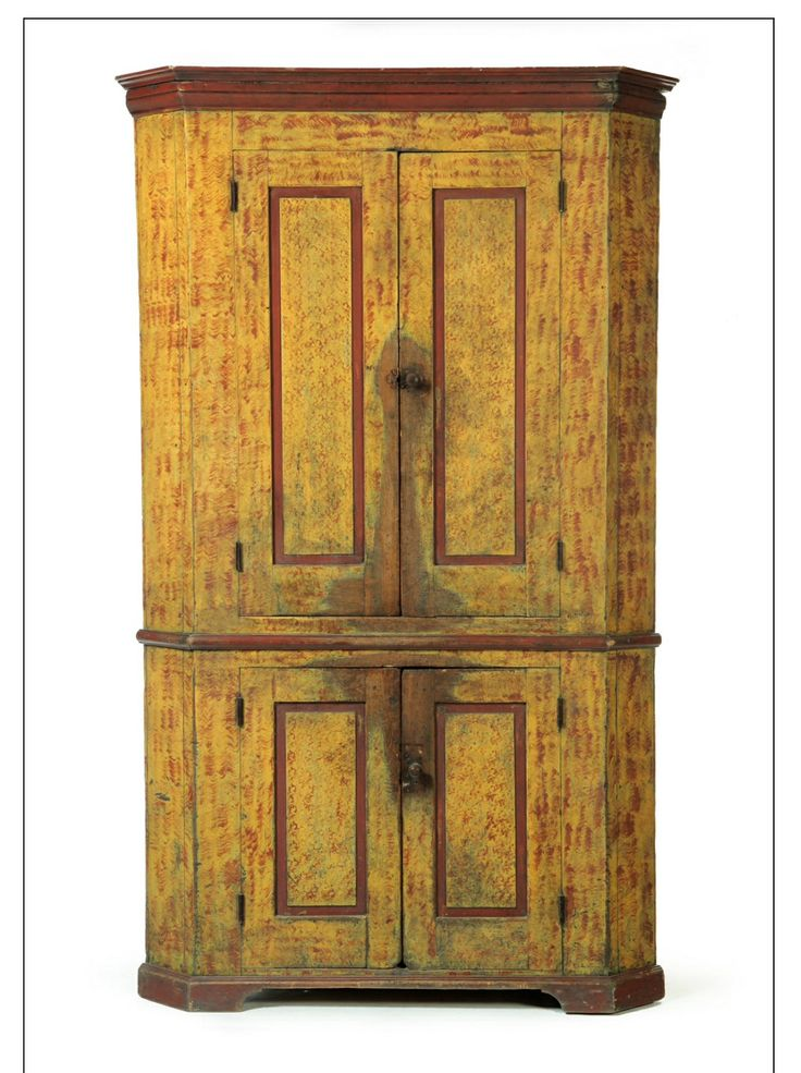 "Garth's. Sale 1084 Lot 46 Mar 16 2013. Sold for $3,055. DECORATED CORNER CUPBOARD. American, 2nd quarter-19th century, poplar. One piece with four raised-panel doors, bracket base, and old red and yellow paint decoration. 80.5""h. 48.5""w. 23.5""d., requires a 32"" corner. Estimate $ 2K- 4K."