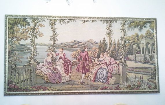 Vintage ANTIQUE TAPESTRY GOBELIN French stylewall