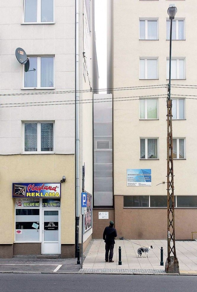 "Jakub Szczęsny | ""Dom Kereta"", Warsaw, Poland. Narrow house art installation built into the gap between two existing buildings. 