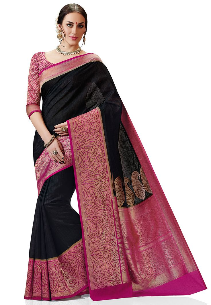 Woven Kanchipuram Silk Saree in Black