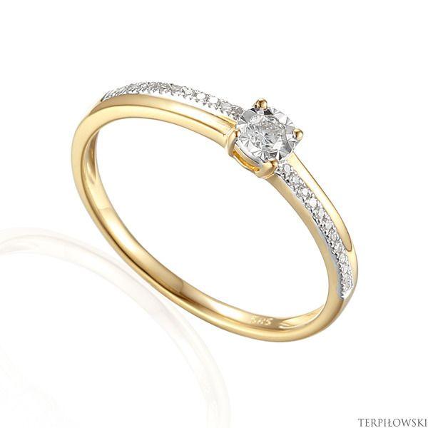 Pierścionek złoty z brylantem w próbie 585 - 45539 | BIŻUTERIA \ Pierścionki zaręczynowe BIŻUTERIA \ Złoto \ Pierścionki BIŻUTERIA \ Złoto \ Pierścionki z brylantami | - Terpiłowski