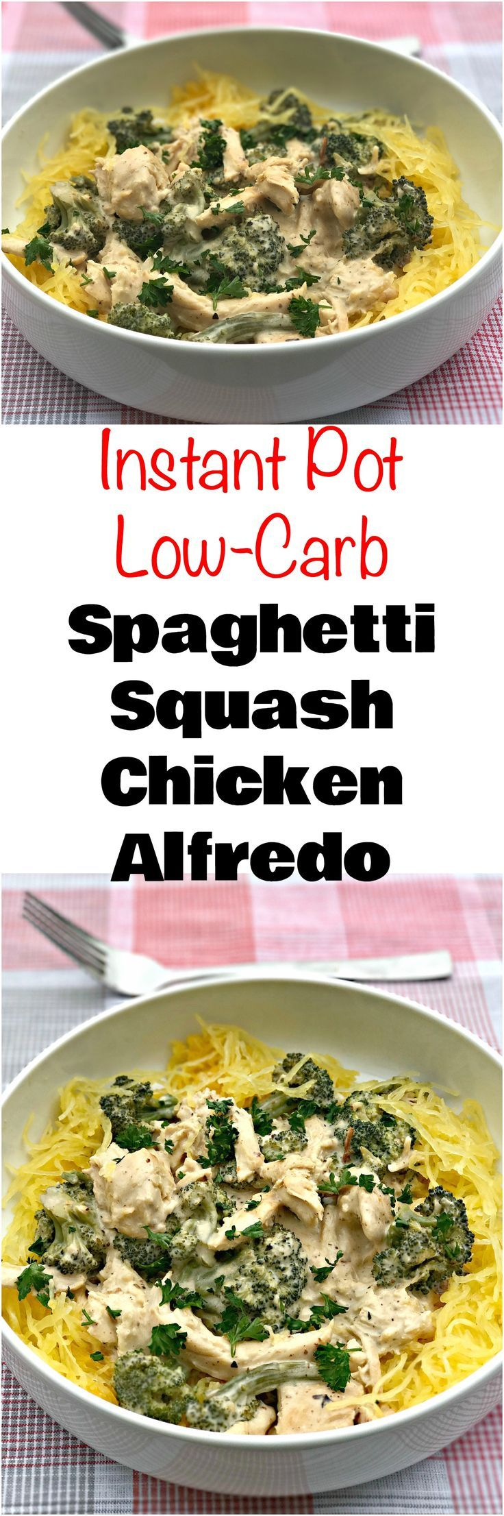 Instant Pot Spaghetti Squash Chicken Alfredo is a quick and easy low-carb recipe packed with creamy alfredo sauce and savory chicken. #LowCarb #LowCarbRecipes #Keto #KetoRecipes #InstantPot #InstantPotRecipes #PressureCooker #PressureCookerRecipes
